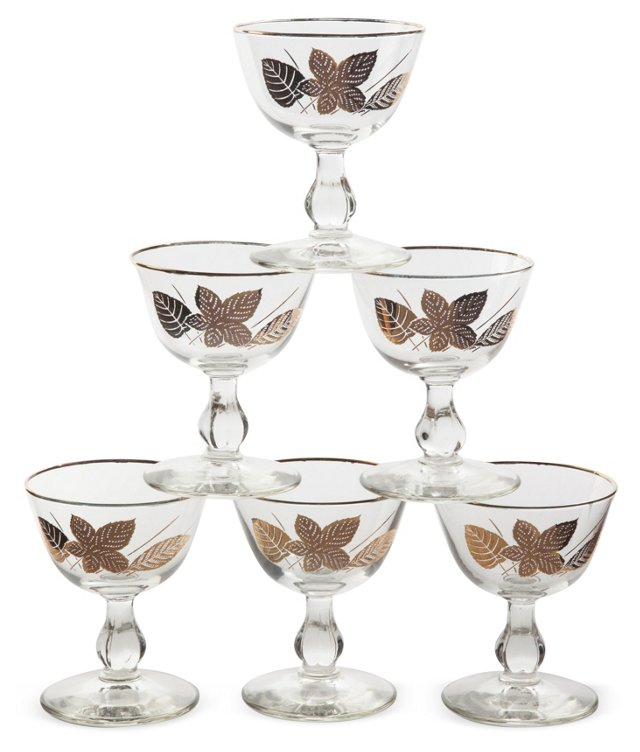 Libbey Gold Leaves Glasses, Set of 6
