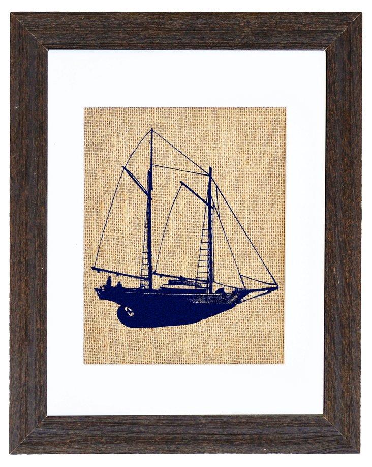Schooner Sailboat Navy Print