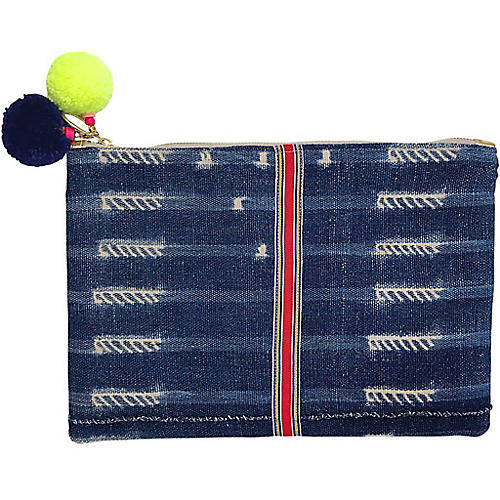 Firework African Mud Cloth Pouch, Navy/Multi