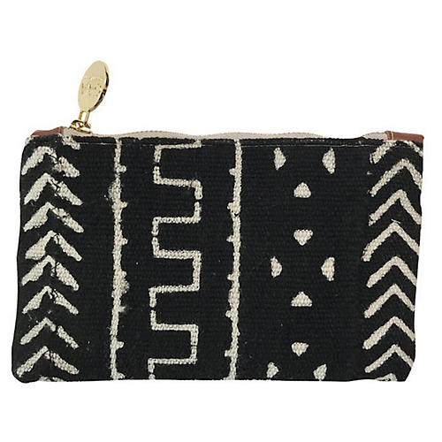 Princess Small Mud Cloth Pouch, Black/White
