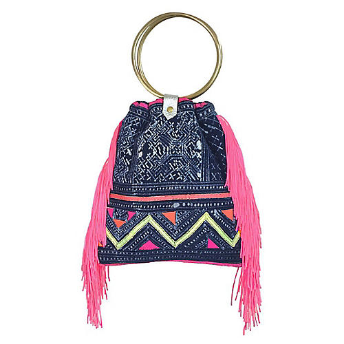 Luna Fringe Crossbody Bag, Blue/Multi