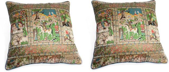 Indian Fabric Pillows, Pair