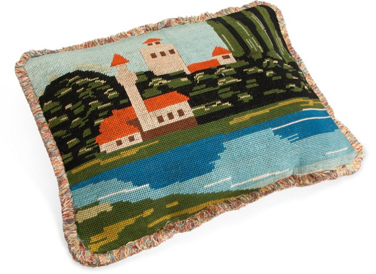Needlepoint Pillow, Coastal Village
