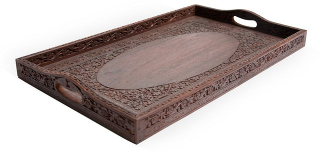 Indian Carved Wood Tray