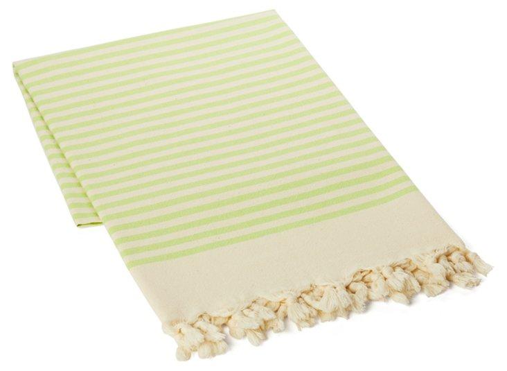 Striped Turkish Towel, Green