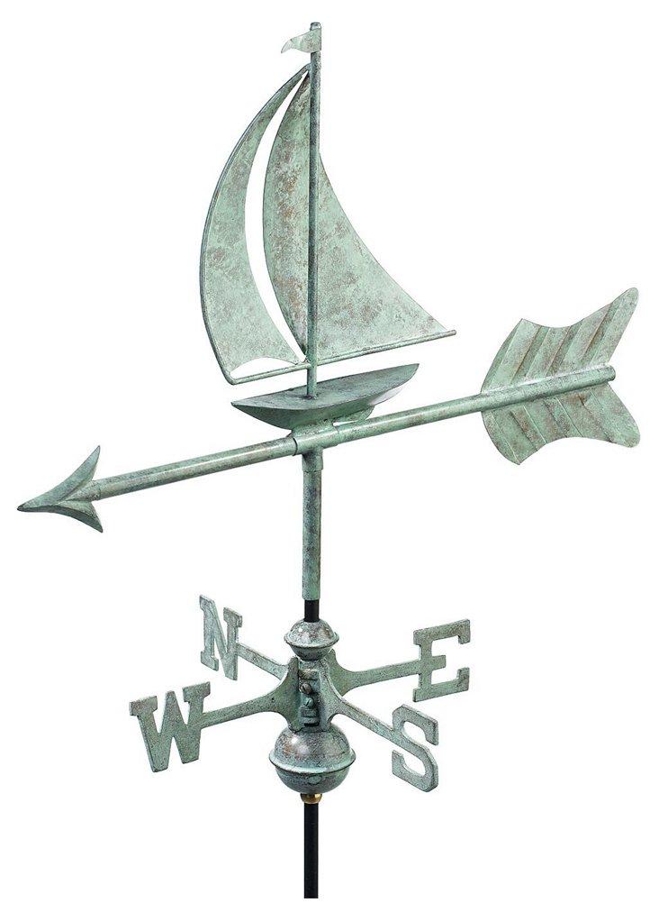 "21"" Sailboat Weather Vane w/ Garden Pole"