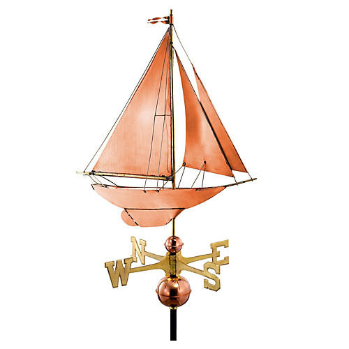 "27"" Racing Sloop Weather Vane, Copper"