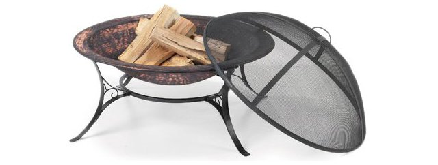 "30"" Fire Pit w/ Spark Screen, Black"