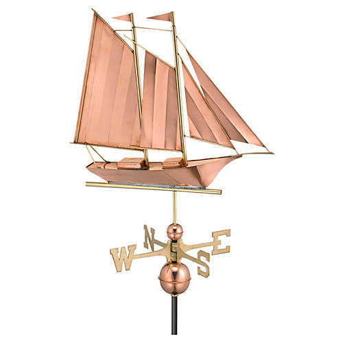 "25"" Schooner Weather Vane, Copper"