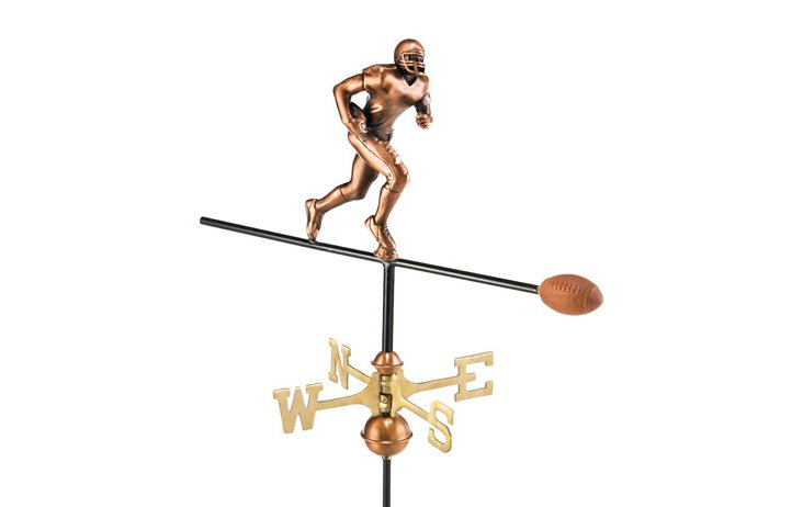 Football Player Weather Vane, Copper