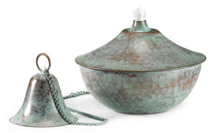 """S/4 5"""" Oil Lamps, Blue Verde Copper"""