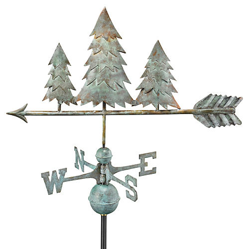 Pine Trees Weather Vane, Blue Verde