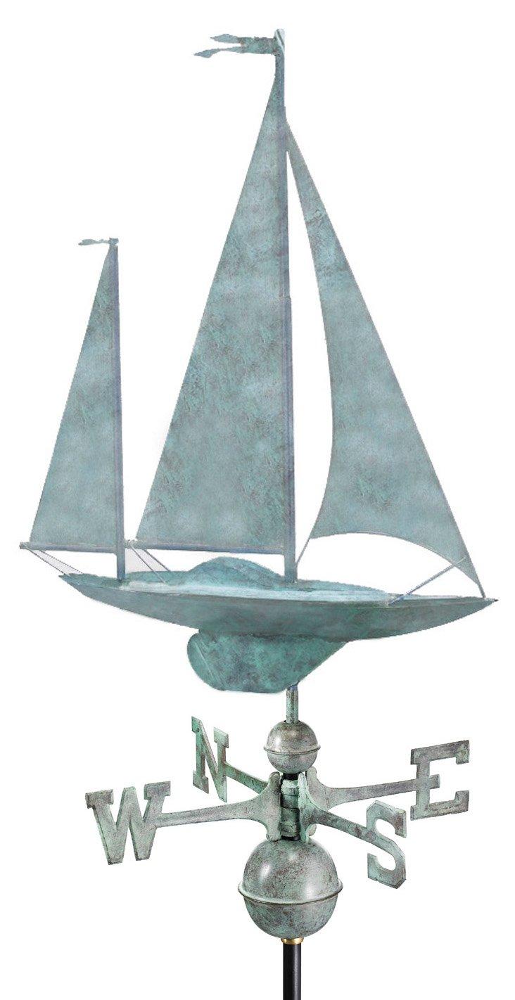 Yawl Weather Vane, Blue Verde Copper