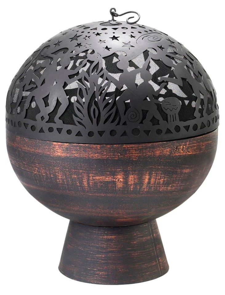 "26"" Full Moon Fire Bowl w/ Dome, Black"