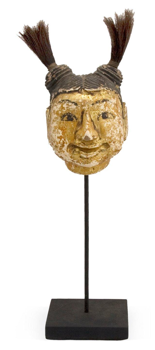 Burmese Puppet Head w/ Pigtails II