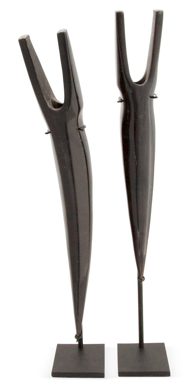 Buffalo Horn Figures, Set of 2