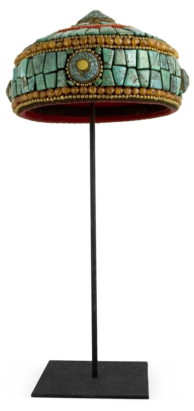 Nepalese Turquoise Hat w/ Stand
