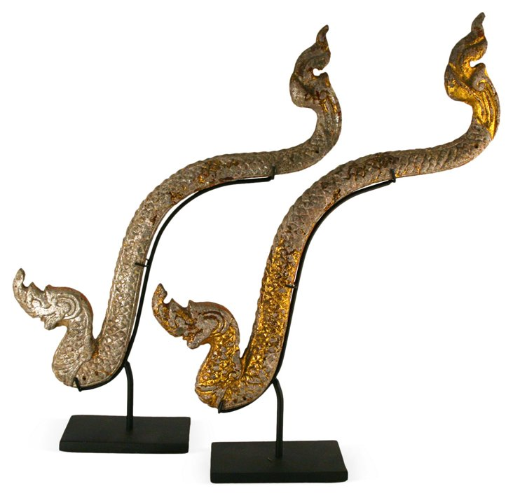Antique Thai Naga Forms, Set of 2