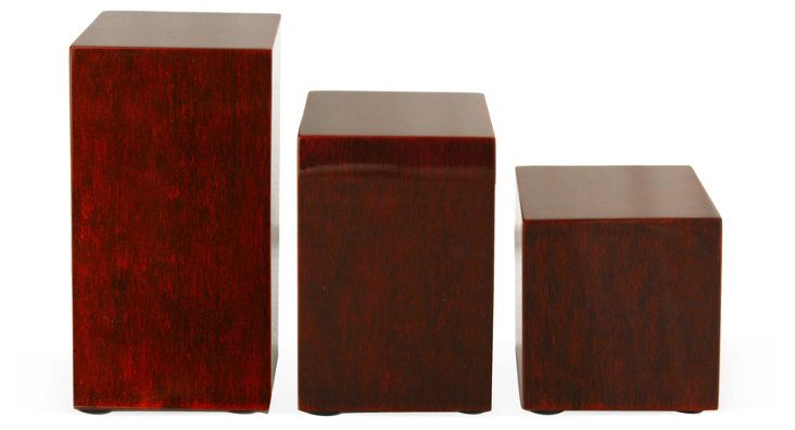 Red Lacquer Stands, Set of 3