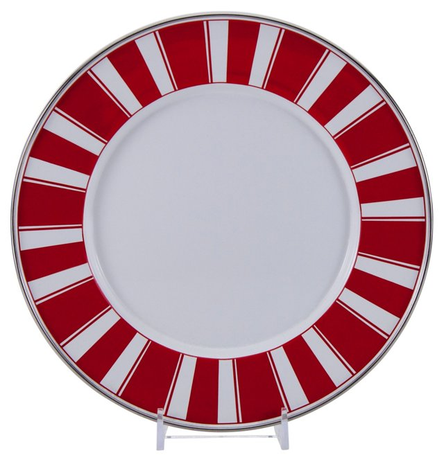 S/4 Stripe Dinner Plates, Red