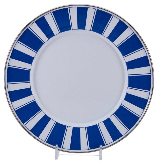 S/4 Stripe Dinner Plates, Blue