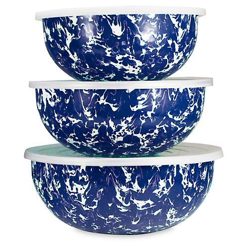 Asst. of 3 Swirl Mixing Bowls, Cobalt/White