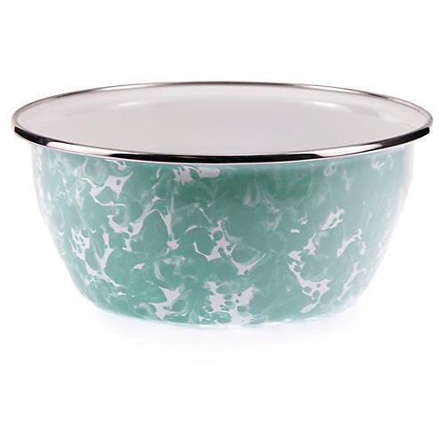 S/4 Enamelware Salad Bowls, Aqua