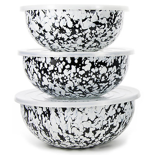 Asst. of 3 Swirl Mixing Bowls w/ Lids, Black/White