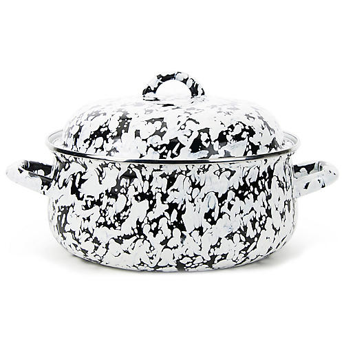 4-Qt Swirl Dutch Oven, Black/White