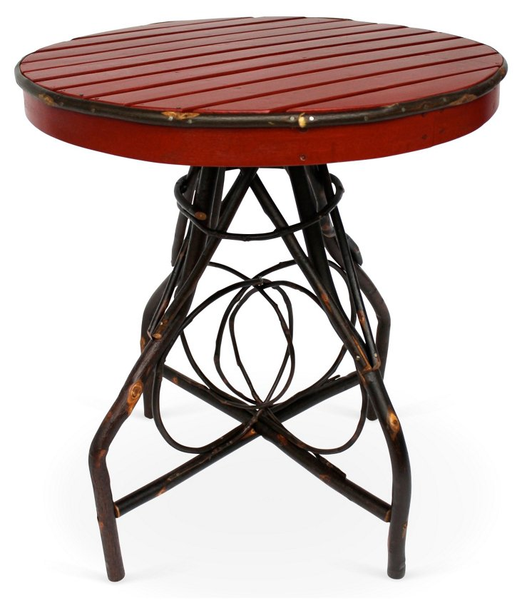 Rustic Bistro Table, Red/Espresso