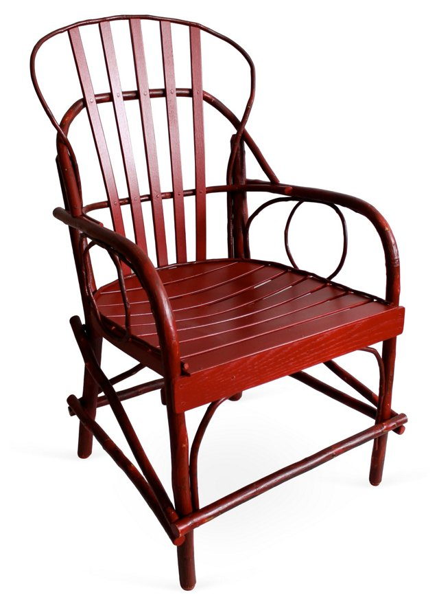 Rustic Armchair, Distressed Red