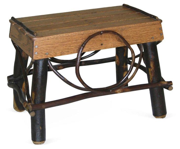 Rustic Footstool, Walnut