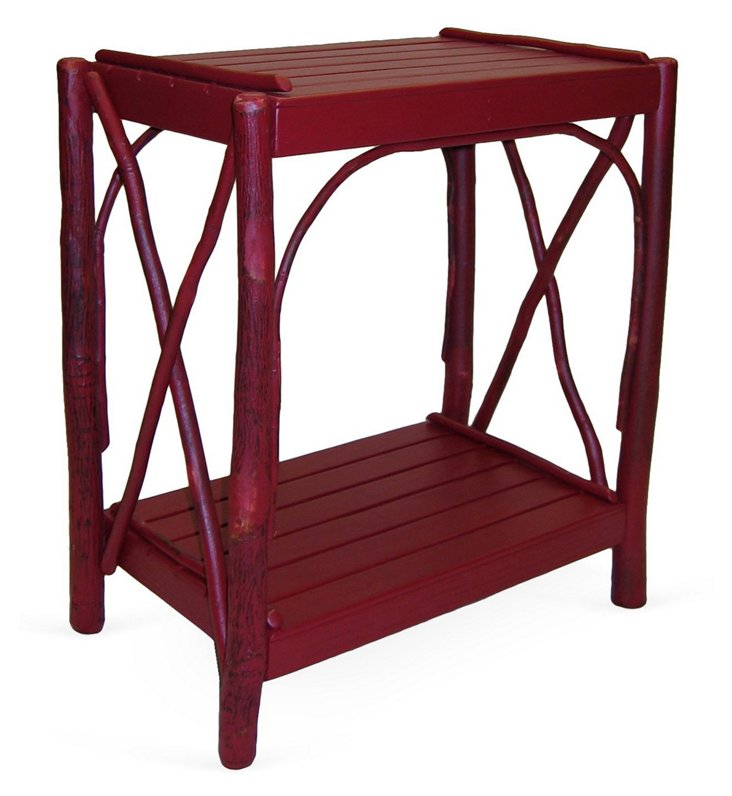 Double Cross Side Table, Distressed Red