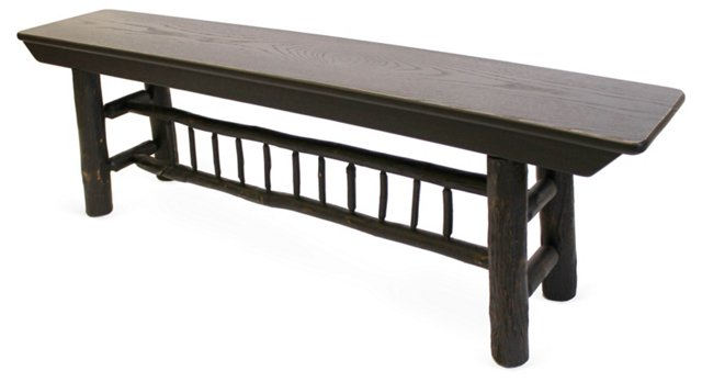 Hickory Spindle Bench, Black