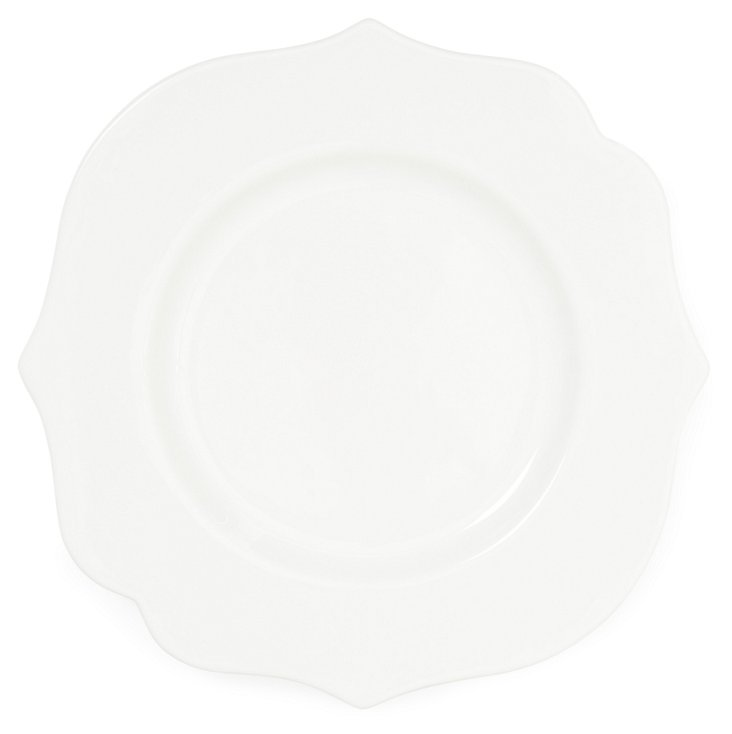 S/4 Baroque Dinner Plates, White