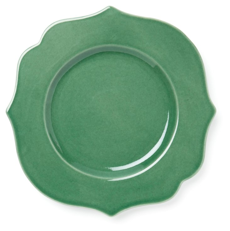 S/4 Baroque Dinner Plates, Green