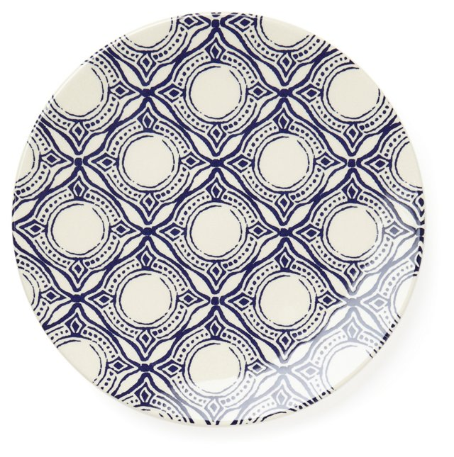 S/4 Medallion Salad Plates, Blue