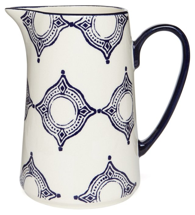Medallion Pitcher, Blue