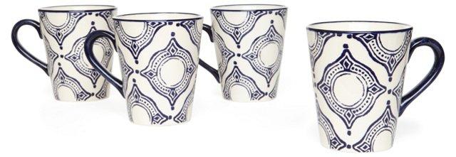 S/4 Blue Medallion Mugs, Blue