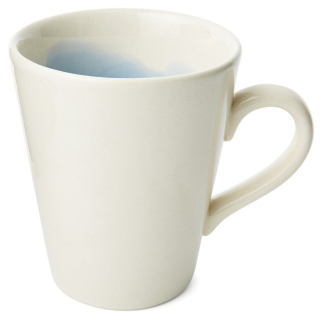 S/4 Hand-Painted Splash Mugs, Blue