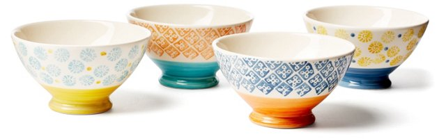 Asst. of 4 Hand-Painted Footed Bowls
