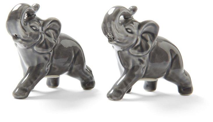Elephant Salt & Pepper Shakers, Gray