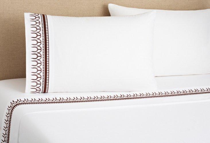 Addis Sheet Set, White/Coffee