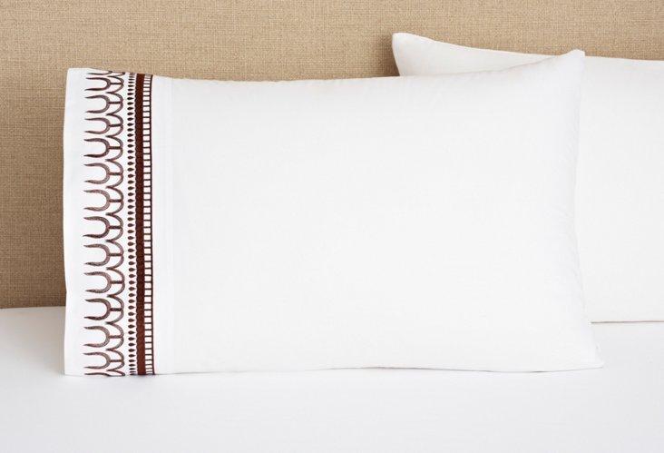 S/2 Addis Pillowcases, White/Coffee