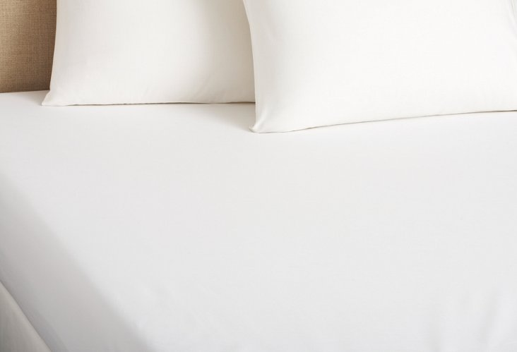 Percale Fitted Sheet, White