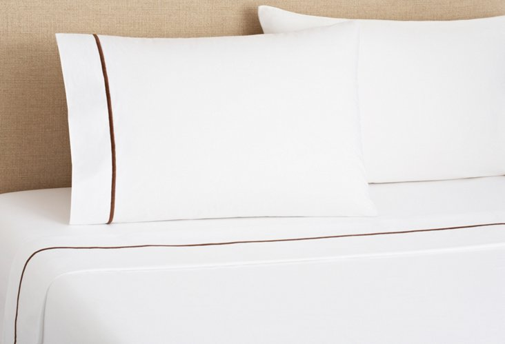 Hotel Sheet Set, White/Chocolate