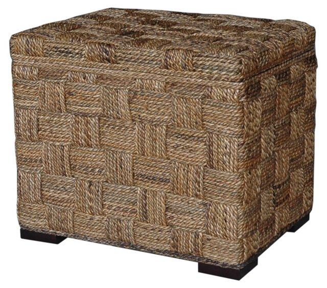 Square Weave Storage Ottoman, Natural