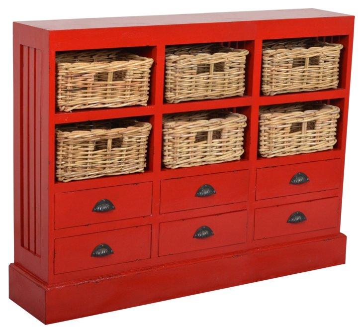Leo Storage Cabinet, Red/Wheat