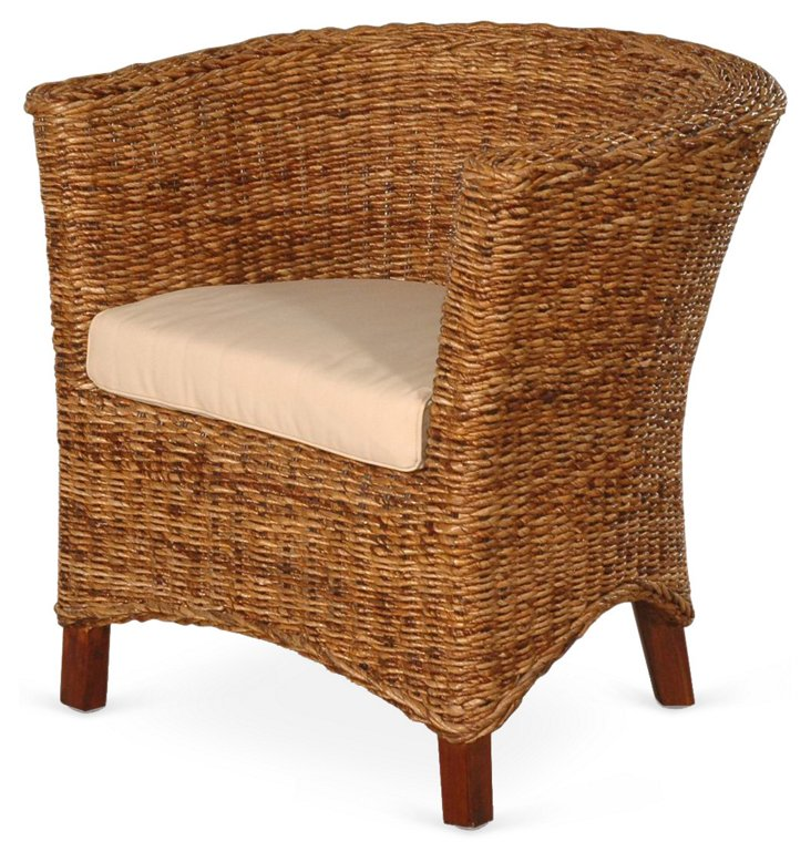 Abigail Accent Chair, Natural/Khaki