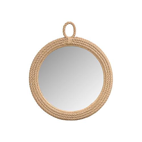 "30"" Rope Hanging Mirror, Natural"